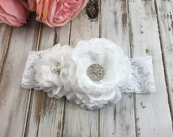 White Flower Headband, White Baptism Headband, White Flower Girl Headband, White birthday headband,Newborn Headband,White couture headband