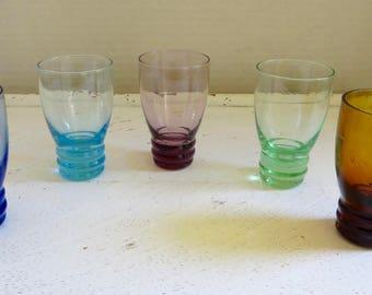 Vintage Mid-Century Colored Shot Glasses Set of 5