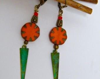 Earrings sleepers, rustic, patina, verdigris brass, Czech glass beads