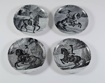 Rare Collectible Set of 4 Equestrian Porcelain Mini Plates by JOHANN ELIAS RIDINGER by Altenkunstadt Bavaria, Germany