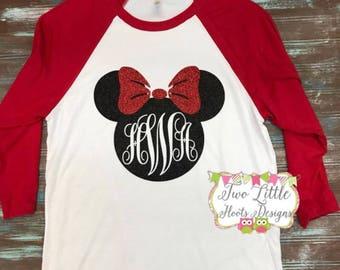 Disney Minnie Mouse Monogrammed Shirt ~ 3/4 length Raglan Tee ~ Monnie Mouse Shirt ~ Disney Trip Shirt ~ Minnie Love Disney Shirt