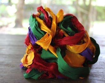 Recycled Sari silk ribbon - Palette