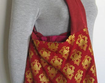 SHOULDER BAG IN TAFFETA BROOCH RED AND GOLD