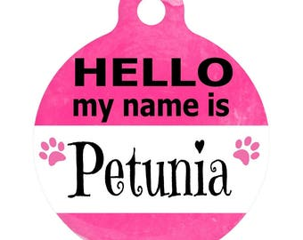 Personalized Round Pet ID Tag-In Bright Pink | Custom Pet ID Tag | Dog Collar Name Tag | Double Sided | HELLO my name is
