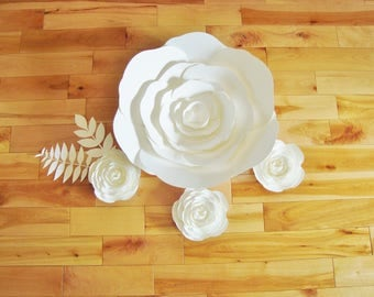 Paper Flowers - Set of 4 | Party Decor | Baby Nursery | Flower Wall | Wall Flowers | Wedding Flowers | Paper Flower Backdrop | Home Decor