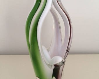 Flygsfors Swedish Paul Kedelv Coquille Art Glass Vase Amethyst Purple Green Clear Signed  Mid Century
