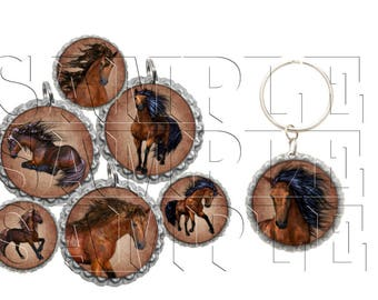 Horses Bottle Cap Images, Clip Art,1 Inch Circles, Cupcake Toppers, Stickers,Buttons, Digital Download, DIY Printable