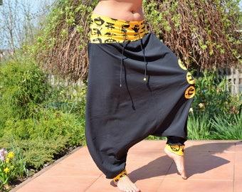 Harem pants harem Joga pants harem pants Black Yellow Monster