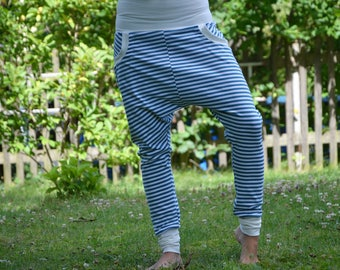 Jogging trousers pants teal white striped