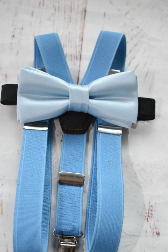 Kids Baby Blue Bow Tie  for Baby, Toddlers and Boys (Kids Bow Ties) with Braces / Suspenders
