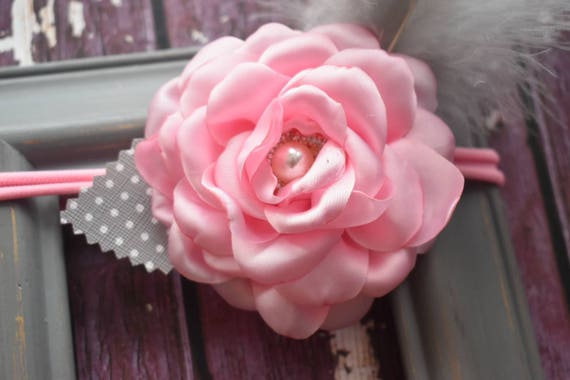 Plush pink flower with  silver feathers christening bow - Baby / Toddler / Kids Elastic Hairclip / Hair Barrette / Hairband / Headband
