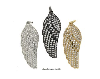 Micro Pave Angel Wing Pendant,CZ Angel Wing Charm,Angel Wing Necklace