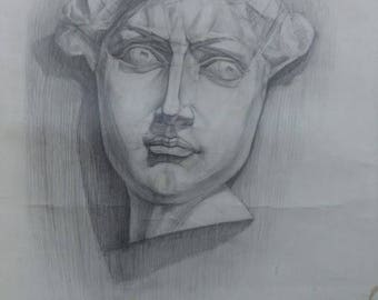 Original  Drawing Academical Anatomy  Vintage Pencil  Dark Tone Pictur Gift Classical Sculpture Head of David