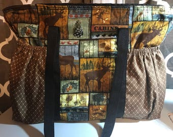 Large deer diaper bag with bears, acorns and pinecones