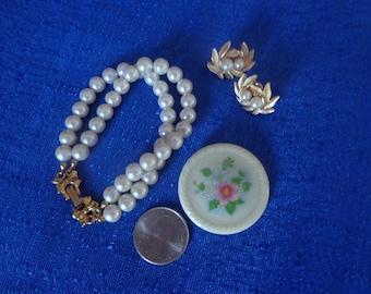 Lot Of 3 Vintage Avon Double Pearl Bracelet,Avon Double Pearl Clip On Earrings,Avon Ceramic Brooch