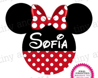 Personalized Minnie Dress and Bow Disney Printed Iron On Transfer - Ready To Iron On - One Preprinted Sheet - Light or Dark Fabric Transfer