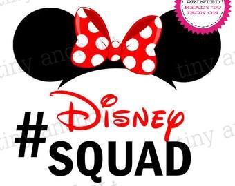 Hashtag #Disney Squad Minnie Ears Printed Iron On Transfer - Ready To Iron On - One Preprinted Sheet - Light or Dark Fabric Transfer