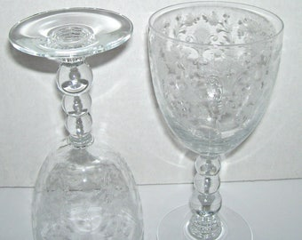 2 Vintage Duncan and Miller First Love Etch Clear Water Goblets