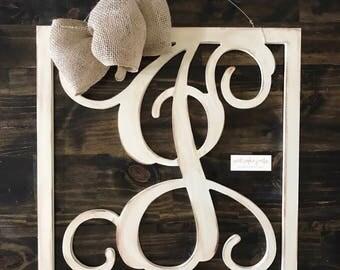 Square Initial Wooden Door Hanger