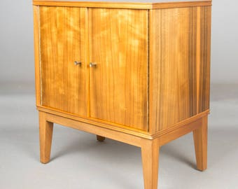 Morris of Glasgow Walnut and Sycamore Record Cabinet side table Mid Century Retro