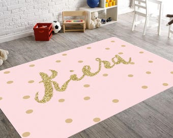 High Quality Personalized Rug, Pink And Gold Room Decor, Playroom Rug, Pink Gold Nursery,