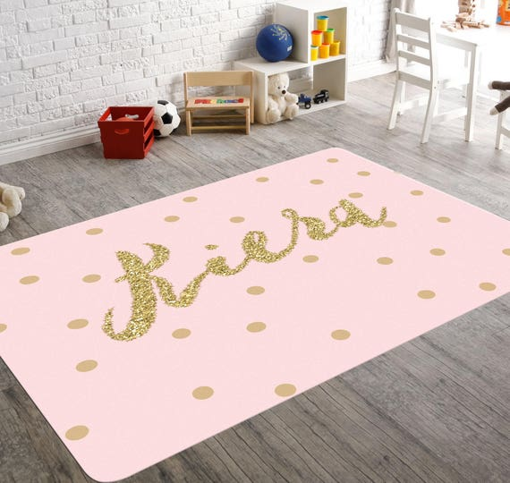 Personalized Rug Pink And Gold Room Decor Playroom Rug Pink