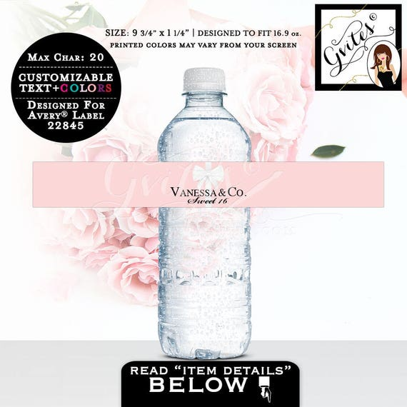 "Sweet 16 Water bottle labels, stickers, sweet sixteen favors gifts, personalized.  PRINTABLE. 9.75x1.25""/5 Per Sheet {Designed Avery® 22845}"