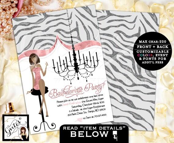 Bachelorette glitz glam invitations, African American classy invitations, fashion designer, pink and silver, glitter, modern, classy.