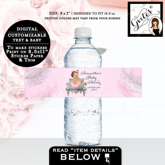 """Baby Shower Water Bottle Labels, pink and silver labels water stickers, bottle wrappers, party favors, customizable 8x2"""" 5 Per/Sheet"""