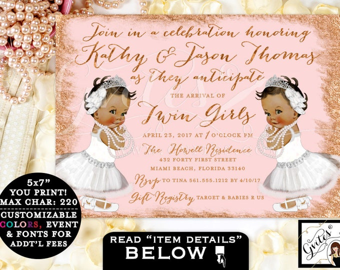 "Twin Baby Shower Invitation African American Baby Girls, Rose Gold & Blush Pink, Tiaras Princess Twins Invites 7x5"" DIY, Digital File"