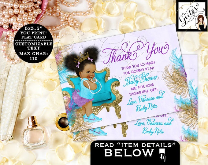 "Thank you baby shower cards, purple turquoise African American note cards thank you flat customizable text. {5x3.5"" 4 Per/Sheet}  #TIAAPC001"
