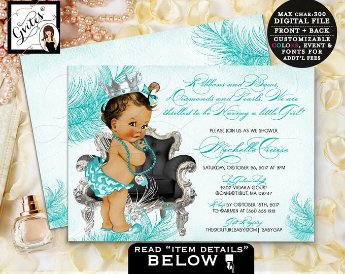 Breakfast at BABY SHOWER co blue invitations,ethnic party digital, Audrey Hepburn inspired party, princess African American printable invite