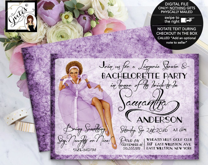 Pin Up Girl Bachelorette Invitation, bachelorette party pin up girl lingerie shower, purple invitations, african american, 7x5 double sided.