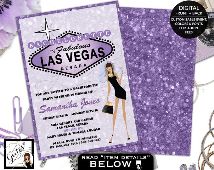 Vegas Bachelorette Party - African American Bride, purple lavender glitter invitations, bridal shower, las vegas wedding, double sided 5x7.