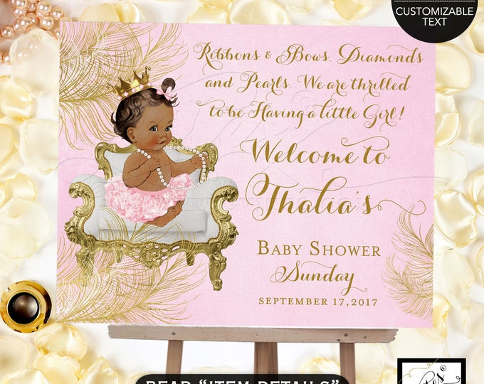 Princess welcome sign baby shower, pink and gold, diamonds pearls, african american baby. Customizable text Digital File!