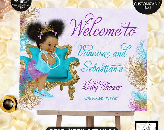 Welcome Sign Turquoise Purple & Gold Baby Shower Invitation, African American baby girl tiara, princess, ribbons bows PRINTABLE  #TIAAPC001