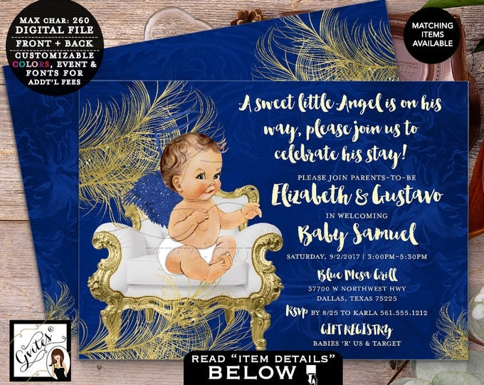 Royal Blue and Gold Baby Shower Printable Invitation, Baby Boy Invites, A Little Angel is on the way, 7x5 Double Sided. DIGITAL FILE ONLY!