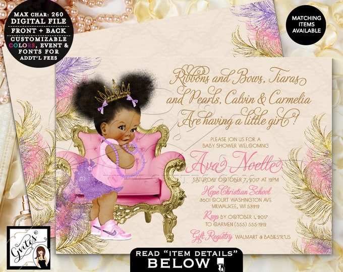 "Purple and Gold Baby Shower Invitation, Princess Tiara, Ribbons Bows Pearls African American Baby Girl Invites, DIGITAL,7x5"" Double Sided."