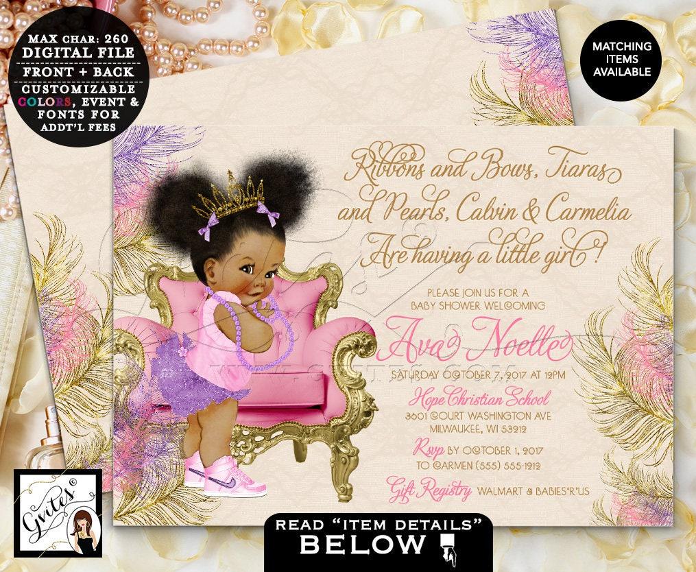 Purple and Gold Baby Shower Invitation, Princess Tiara, Ribbons ...