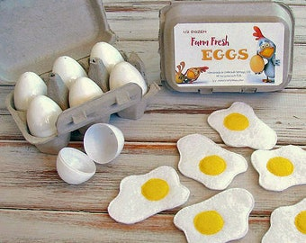 Pretend Eggs Play Food, Crackable Eggs, Felt Food, Breakfast Eggs, Pretend Play