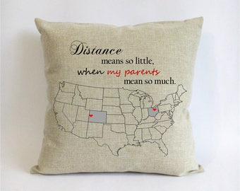 Parents Christmas gift-mothers day gift from daughter-dad gift-gift for parents in law-distance means so little when my parents mean so much