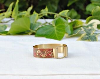 Engraved brass bracelet - monsters