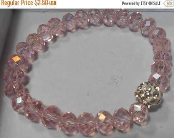 SALE Beaded Pink AB Crystal Bead Stretch Bracelet