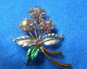 ON SALE Crystal Flower Bouquet Brooch