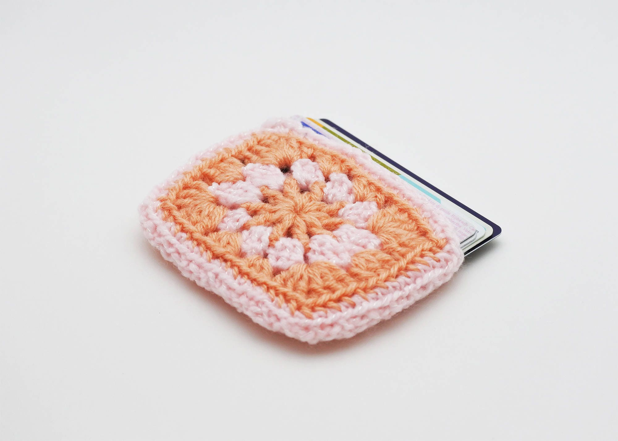 Credit card wallet pink and peach card case vegan granny square credit card wallet pink and peach card case vegan granny square business card holder reheart Choice Image