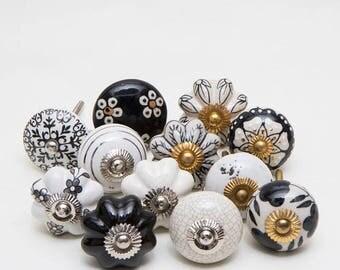 Set of 12 Black and Grey Ceramic Knobs