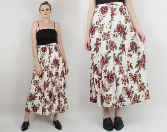 90s Floral Maxi Skirt, White and Maroon Roses, Size Small to Medium, Rayon, Button Up, 26 27 28 29 Waist, Grunge, Long floral Skirt