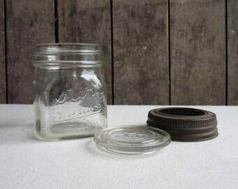 Vintage Kerr Mason Jar w/ Metal Ring & Glass Lid Insert, Half Pint Antique Kerr Mason Jar,Glass Lid Insert,Farmhouse Kitchen,Canning,Cooking