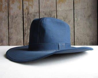 Vintage Blue Denim Cowboy Hat.Size M Blue Denim Western Cowboy Hat,Men's Vintage Hats,Country Western Clothing,Accessories, Hat,Circa 1970's