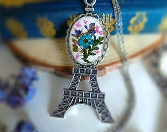 The Eiffel Tower-pendant-necklace-real flower-pressed flower-resin-stainless steel-chain-botanical jewelery-special gift-bouquet-vintage